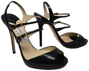 Jimmy Choo Snakeskin Animal Print Ankle Strap Strappy Platform Black Sandals