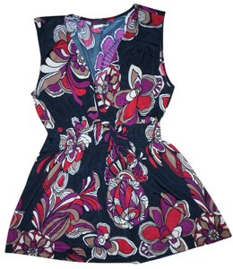 Agenda Polyester Flowers Stretchy Top Black, Burgundy, Beige, Ivory, Red