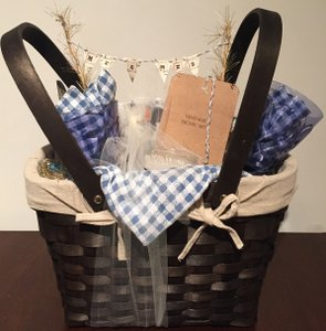 Dark Brown Picnic Basket with Plates Utensils Glasses Etc Other