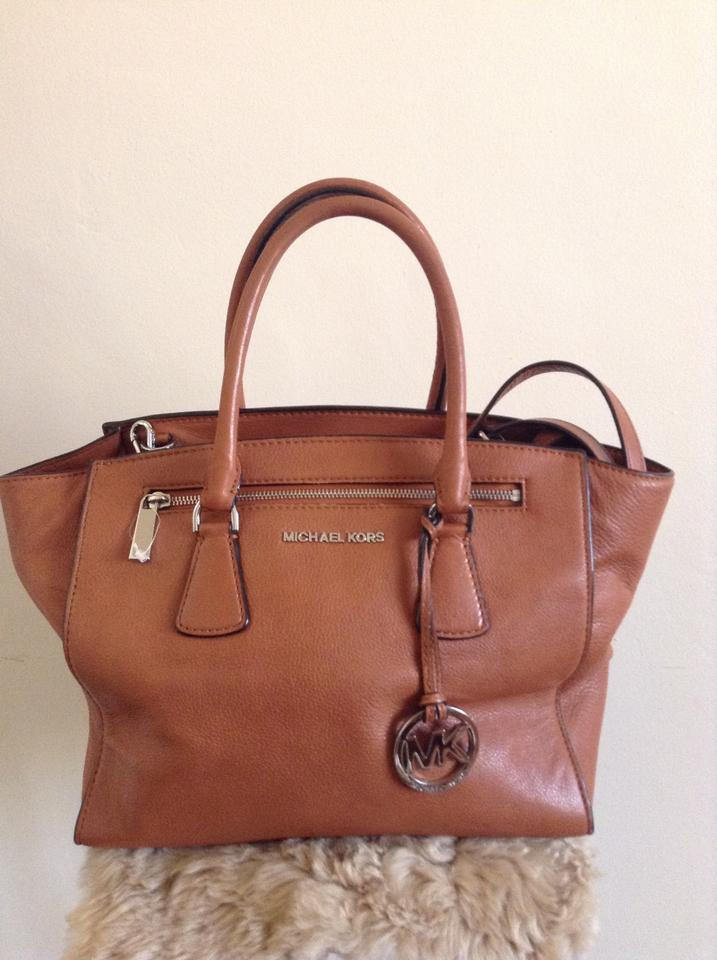 58131f6433ab ... closeout michael kors jet set selma crossbody brown silver hardware  satchel in tan camel 6353b 3deb3