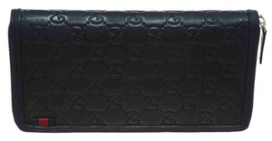 Gucci Guci Navy Blue Guccissima Leather Zip Around Wallet
