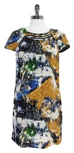 Tory Burch Multi Color Print Silk Shift Shift Dress