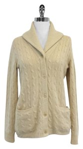 Ralph Lauren Tan Cashmere Cable Knit Cardigan