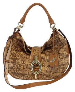 Diane von Furstenberg Tan Cork Print Leather Hobo Bag