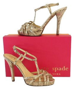 Kate Spade Rose Gold Reptile Print Heels Sandals
