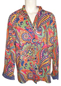 Vera Bradley Cotton Button Down Shirt multi color print