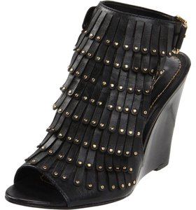 Signature Report Leather Studded Fringe Black Boots