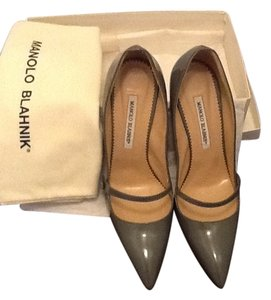 Manolo Blahnik Grey Patent Leather Pumps
