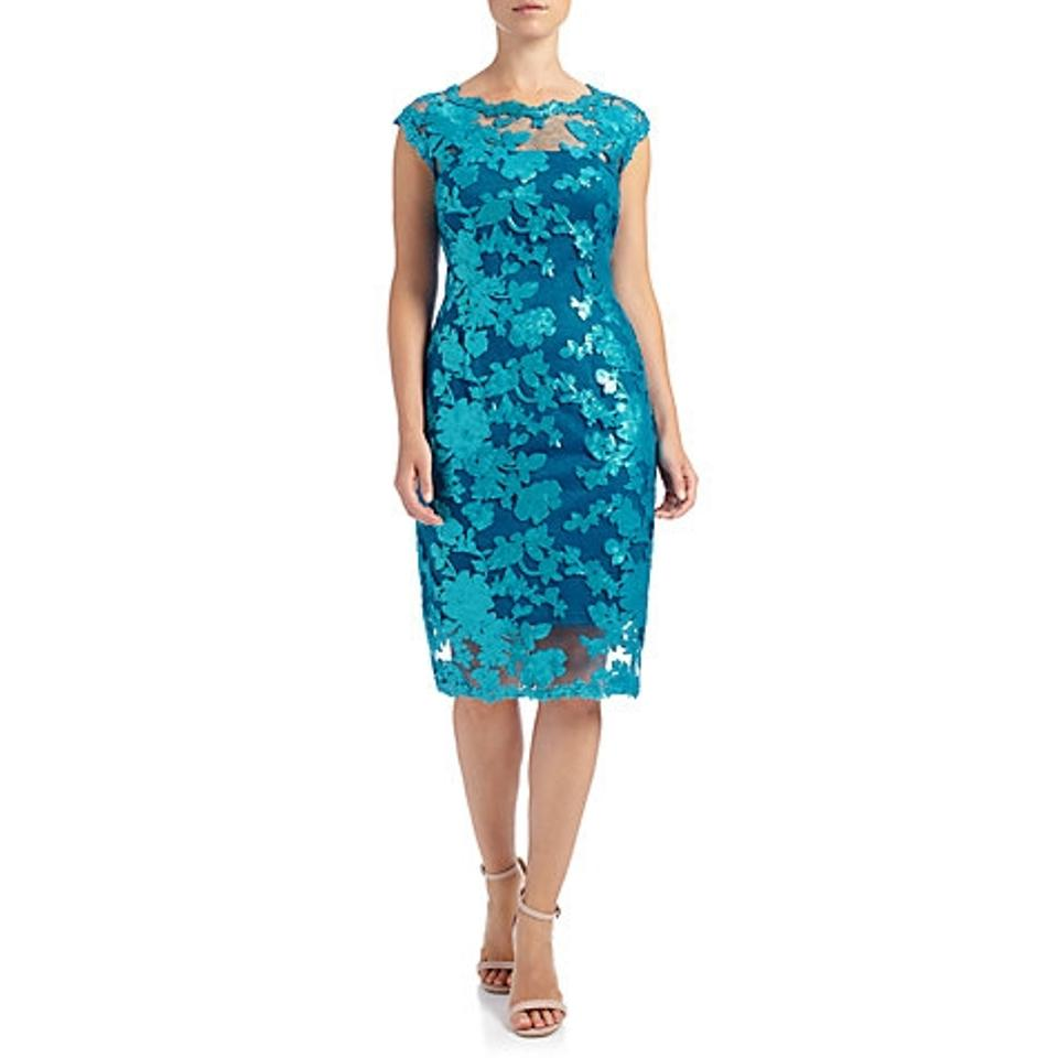 Adrianna Papell Blue Cap Sleeve Sequin Torquoise Knee Length ...