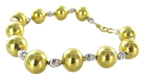 18KT YELLOW & WHITE GOLD BRACELET 11 BALLS BEADS 14.1 GRAMS ESTATE FINE JEWELRY