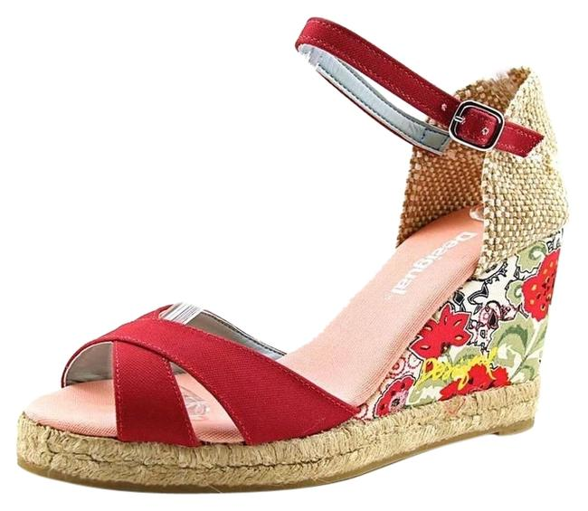 Item - Red Fabulous Alto Jute and Floral Sandals 7-7.5 Wedges Size US 7 Regular (M, B)