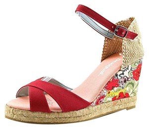 Desigual Floral European Beachy Wedge Red Wedges