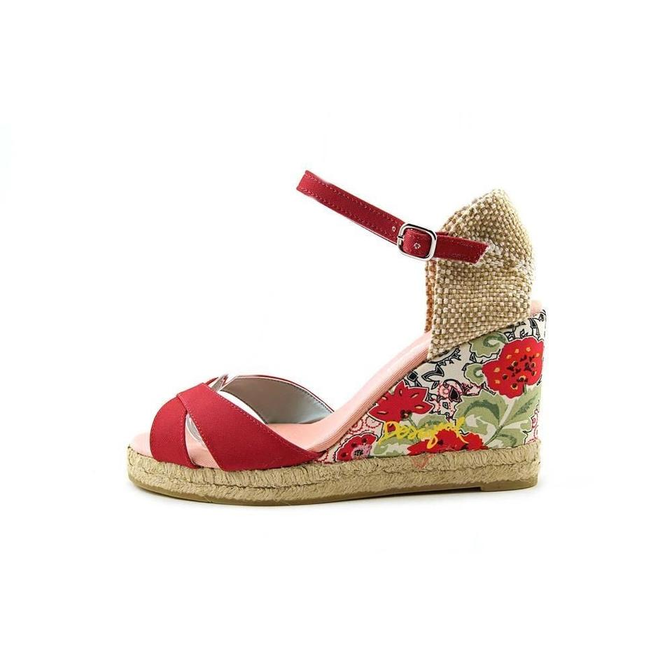 Desigual Red Alto Jute And Floral Sandals 8 85 Wedges Size Us 8