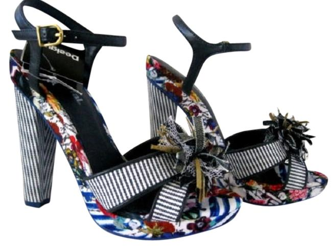 Item - Black Blue Fabulous Pam 3 High Sandals From Portugal 6-6.5 Wedges Size US 6 Regular (M, B)