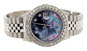 Rolex MENS ROLEX DATEJUST S/S 3.2 CT DIAMONDS WATCH , BLUE MOP DIAMOND DIAL