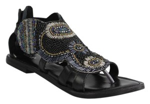Diba Edgy Leather Beaded Black Beaded Sandals