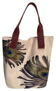 Elliott Lucca Peacock Feather Leather Hobo Bag
