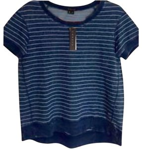 Theory Striped New Cotton T Shirt Blue