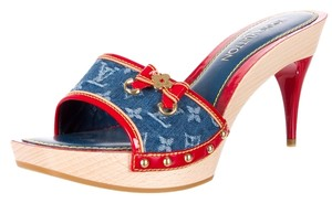 Louis Vuitton Blue, Red, Beige Sandals