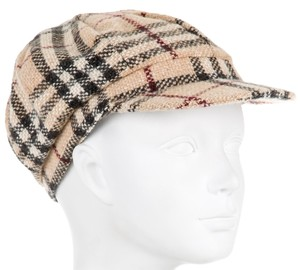 Burberry Tan, black, brown Burberry Nova check wool hat New M Medium