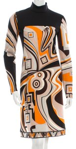 Emilio Pucci Shortsleeve Turtleneck Abstract Print New S Small 6 40 Wool Longsleeve Dress