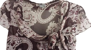 Ann Taylor Paisley Silk Office Top Wine