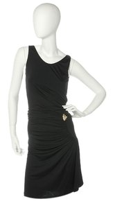 Roberto Cavalli Black Ruched Lotus Dress