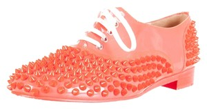 Christian Louboutin Neon Patent Patent Leather Round Toe Oxford Spike Studded 37.5 7.5 Freddy Embellished Textured Orange Flats