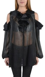 Just Cavalli Sheer Dressy Top Black and Silver