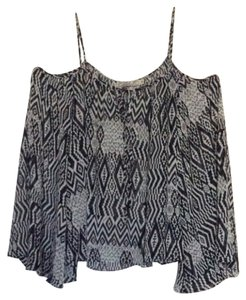 Chloe K Off The Boho Top Navy/white