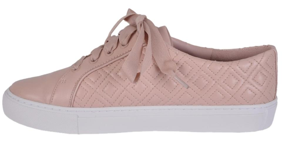 76d85404a Tory Burch Pink Marion T New Women s Quilted Leather Logo Sneakers ...