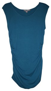 New York & Company Bands At Sides Ruching At Sides Fitted Silhouette Pullover Style Top Blue
