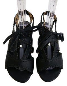 Fiel Edgy Leather Wedge Black Sandals