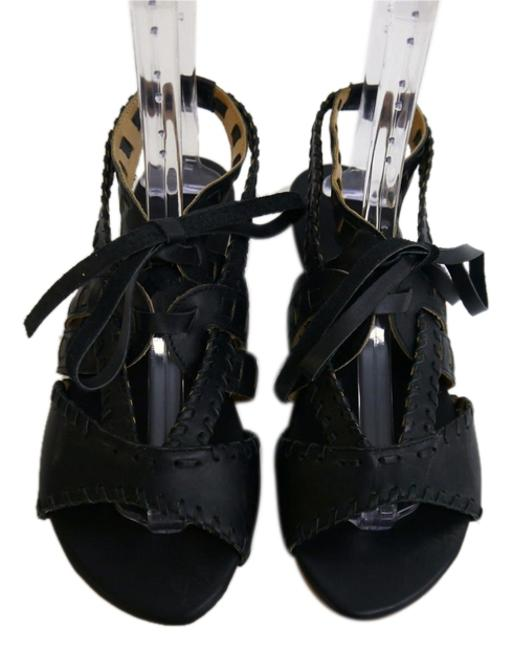 Item - Black Soft Leather Funky Low Wedge Edgy Sandals Size US 9 Regular (M, B)