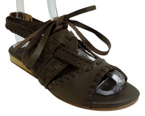 Fiel Edgy Leather Wedge Brown Sandals