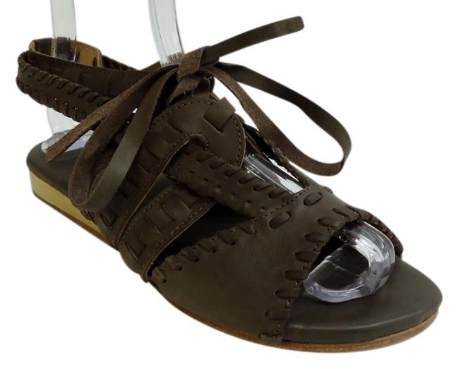 Item - Brown Soft Leather Funky Low Wedge Edgy Leather Sandals Size US 7.5 Regular (M, B)