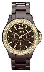 Fossil FOSSIL BROWN GOLD CERAMIC BRACELET CRYSTALS WATCH CE1044 NWT $225