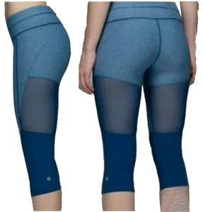 Lululemon New With Tags Lululemon Training Tough Crop Mesh Ventilation Blue Poseidon