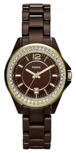 Fossil Fossil Woman's Riley Mini Ceramic Watch - Chocolate /Gold #CE1055 NWT $225