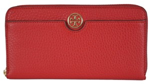 Tory Burch NEW Tory Burch 32159151 Kir Royale Red Leather Zip Around Wallet