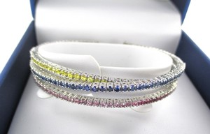 14KT SOLID WHITE GOLD BRACELET TRI BANGLE PRECIOUS STONES MULTI COLOR ESTATE