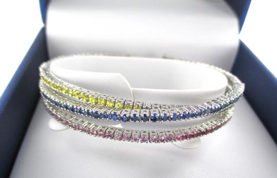 Other 14KT SOLID WHITE GOLD BRACELET TRI BANGLE PRECIOUS STONES MULTI COLOR ESTATE