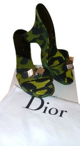 Dior Silver Hardware Patent Leather Camo Green Black Wedges