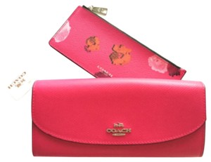 Coach Coach POP SLIM ENVELOPE WALLET FLORAL PRINT CANVAS Pink Ruby Multi