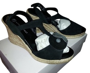 Eric Michael Suede Jute Wedge Black Wedges