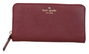 Kate Spade * Kate Spade Wine Saffiano Leather Ziparound Wallet