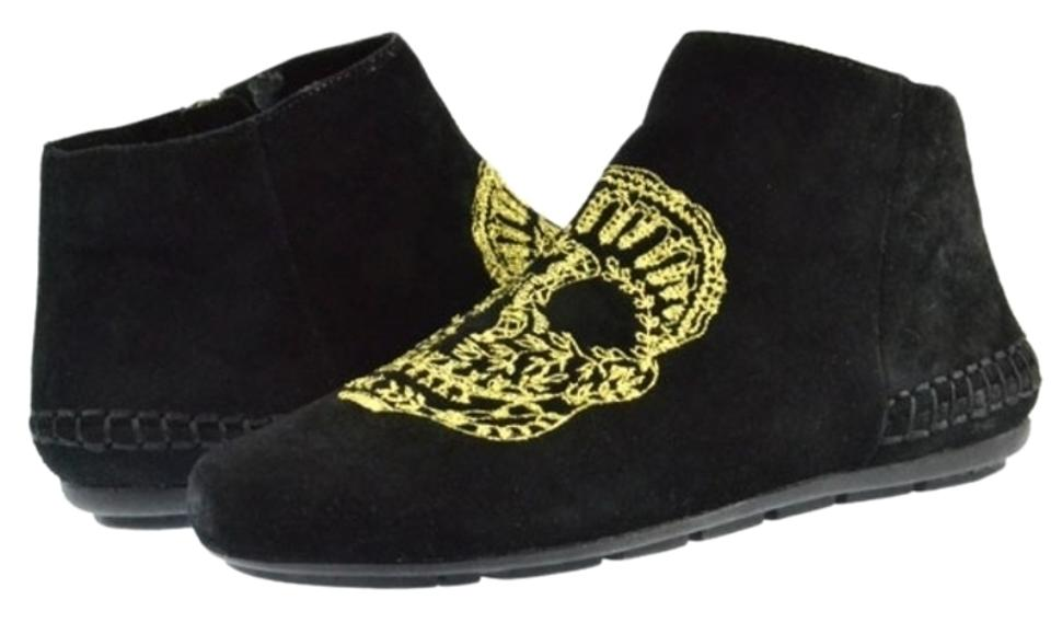 House Gold of Harlow 1960 Black/ Gold House Embroidery Mara Skull Mocs Boots/Booties 6ffda6