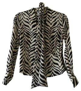 Talbots Pure Silk Animal Print Top Black & White