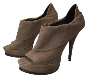 Elizabeth and James Leather Stiletto Bootie Suede Peep Toe Taupe Platforms