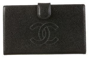 Chanel Chanel Black Caviar Wallet French Purse Leather XL Jumbo Quilted CC Logo Bifold Coin A13498